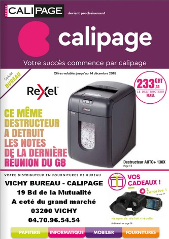 PROMOTIONS FOURNITURES DE BUREAU & PAPETERIE  - CALIPAGE VICHY